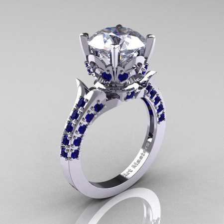 14K White Gold French Vintage 3.0 Carat White and Blue Sapphire Solitaire Blazer Ring R401-14KWGBSWS-1