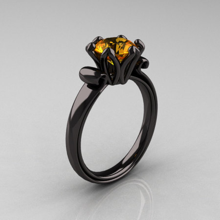 Modern Antique 14K Black Gold 1.5 Ct Citrine Designer Solitaire Engagement Ring AR127-14KBGCI-1