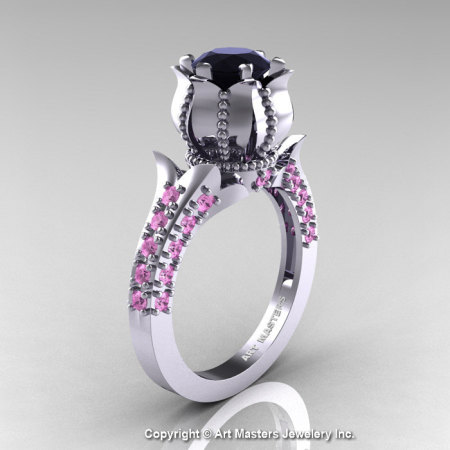 Classic 14K White Gold 1.0 Ct Black Diamond Light Pink Sapphire Solitaire Wedding Ring R410-14KWGLPSBD-1