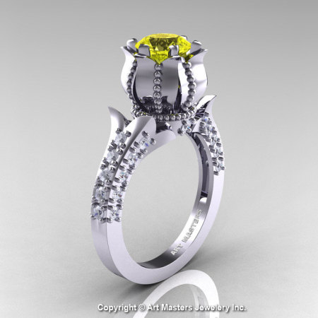 Classic 14K White Gold 1.0 Ct Yellow Sapphire Diamond Solitaire Wedding Ring R410-14KWGDYS-1