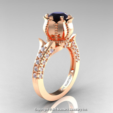 Classic 14K Rose Gold 1.0 Ct Black and White Diamond Solitaire Wedding Ring R410-14KRGDBD-1