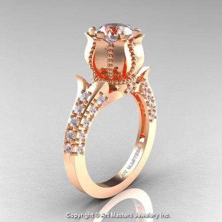 Classic 14K Rose Gold 1.0 Ct White Sapphire Diamond Solitaire Wedding Ring R410-14KRGDWS-1
