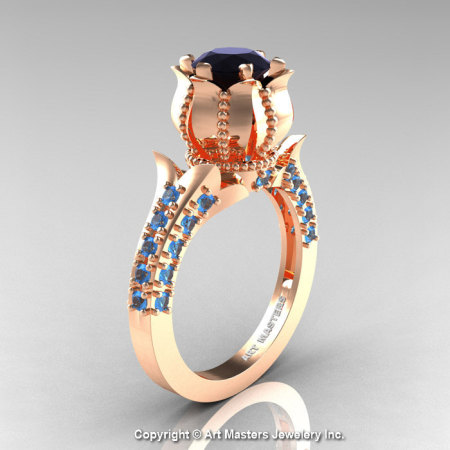 Classic 14K Rose Gold 1.0 Ct Black Diamond Blue Topaz Solitaire Wedding Ring R410-14KRGBTBD-1