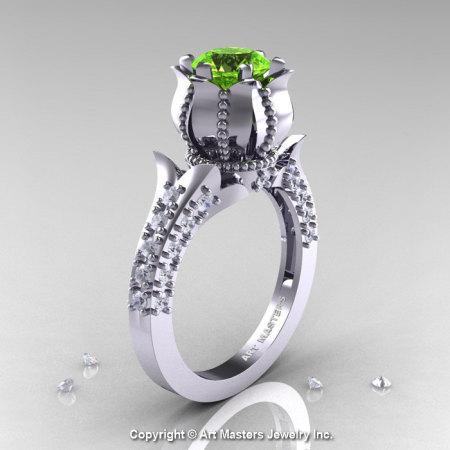 Classic 14K White Gold 1.0 Ct Peridot Diamond Solitaire Wedding Ring R410-14KWGDP-1