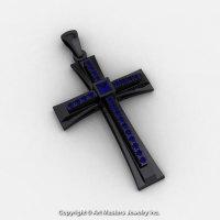 Classic Bridal 14K Black Gold 0.20 Ct Princess Blue Sapphire Cross Pendant C484-14KBGBS-1