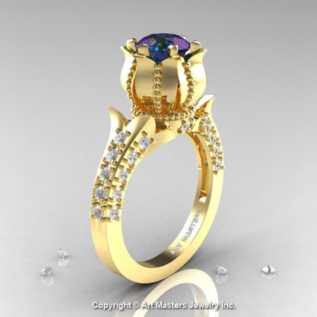Classic 14K Yellow Gold 1.0 Ct Alexandrite Diamond Solitaire Wedding Ring R410-14KYGDAL-1