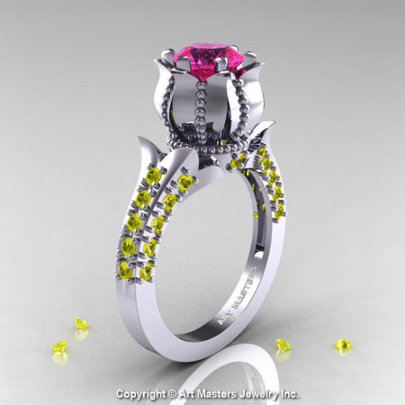 Classic 14K White Gold 1.0 Ct Pink and Yellow Sapphire Solitaire Wedding Ring R410-14KWGYSPS-1