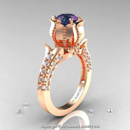 Classic 14K Rose Gold 1.0 Ct Alexandrite Diamond Solitaire Wedding Ring R410-14KRGDAL-1