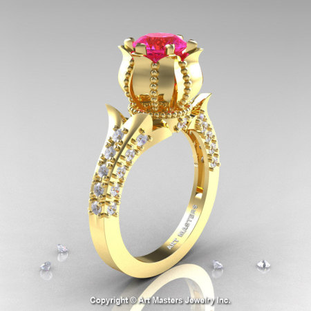 Classic 14K Yellow Gold 1.0 Ct Pink Sapphire Diamond Solitaire Wedding Ring R410-14KYGDPS-1
