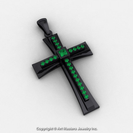 Classic Bridal 14K Black Gold 0.20 Ct Princess Emerald Cross Pendant C484-14KBGEM-1