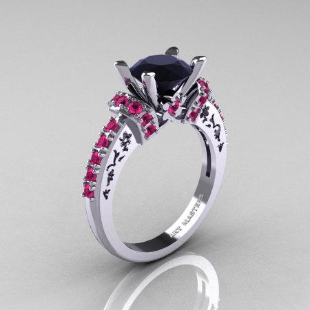 Modern Armenian Classic 10K White Gold 1.5 Carat Black Diamond Pink Sapphire Wedding Ring R137-10WGPSBD-1