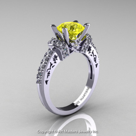 Modern Armenian Classic 14K White Gold 1.5 Ct Yellow Sapphire Diamond Wedding Ring R137-14KWGDYS-1