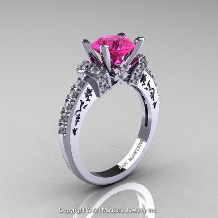Modern Armenian Classic 14K White Gold 1.5 Ct Pink Sapphire Diamond Wedding Ring R137-14KWGDPS-1