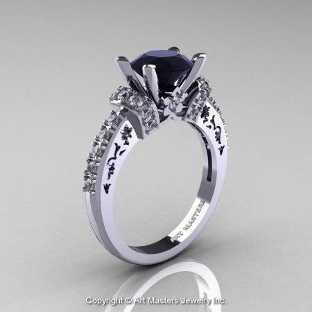Modern Armenian Classic 18K White Gold 1.5 Ct Black and White Diamond Wedding Ring R137-18KWGDBD-1