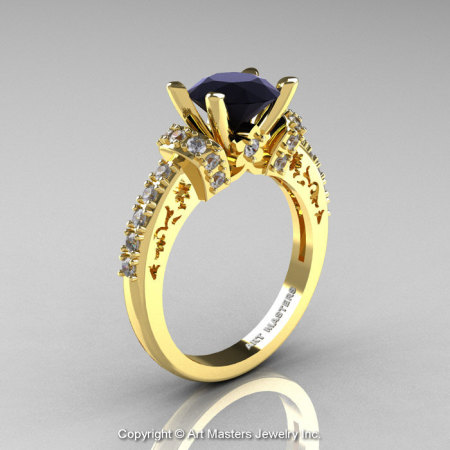 Modern Armenian Classic 14K Yellow Gold 1.5 Ct Black and White Diamond Wedding Ring R137-14KYGDBD-1