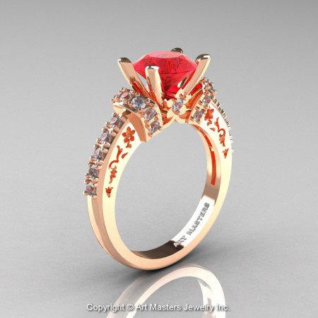 Modern Armenian Classic 14K Rose Gold 1.5 Ct Ruby Diamond Wedding Ring R137-14KRGDR-1