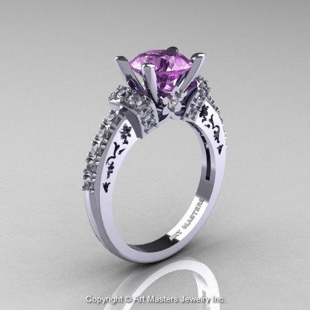 Modern Armenian Classic 14K White Gold 1.5 Ct Lilac Amethyst Diamond Wedding Ring R137-14KWGDLA-1