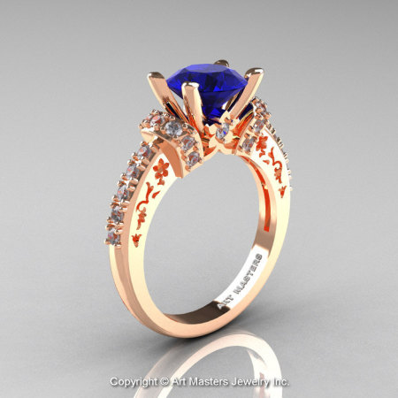 Modern Armenian Classic 14K Rose Gold 1.5 Ct Blue Sapphire Diamond Wedding Ring R137-14KRGDBS-1