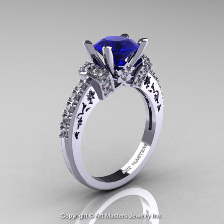 Modern Armenian Classic 14K White Gold 1.5 Ct Blue Sapphire Diamond Wedding Ring R137-14KWGDBS-1