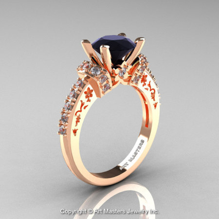 Modern Armenian Classic 18K Rose Gold 1.5 Ct Black and White Diamond Wedding Ring R137-18KRGDBD-1