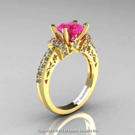Modern Armenian Classic 14K Yellow Gold 1.5 Ct Pink Sapphire Diamond Wedding Ring R137-14KYGDPS-1