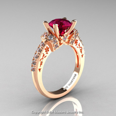 Modern Armenian Classic 14K Rose Gold 1.5 Ct Red Garnet Diamond Wedding Ring R137-14KRGDG-1