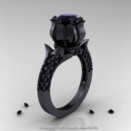 Classic 14K Black Gold 1.0 Ct Black Diamond Solitaire Wedding Ring R410-14KBGBD-1
