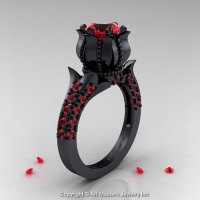 Classic 14K Black Gold 1.0 Ct Rubies Solitaire Wedding Ring R410-14KBGR-1