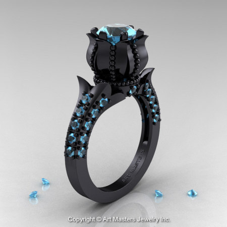 Classic 14K Black Gold 1.0 Ct Blue Topaz Solitaire Wedding Ring R410-14KBGBT-1