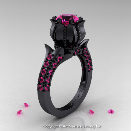 Classic 14K Black Gold 1.0 Ct Pink Sapphire Solitaire Wedding Ring R410-14KBGPS-1