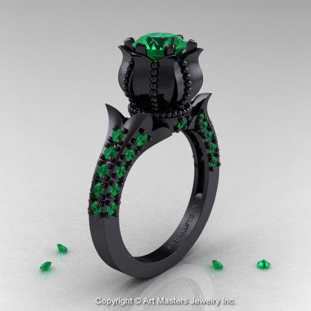 Classic 14K Black Gold 1.0 Ct Emerald Solitaire Wedding Ring R410-14KBGEM-1