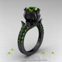 Classic 14K Black Gold 1.0 Ct Peridot Solitaire Wedding Ring R410-14KBGP-1