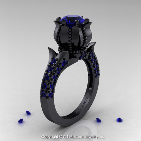 Classic 14K Black Gold 1.0 Ct Blue Sapphire Solitaire Wedding Ring R410-14KBGBS-1