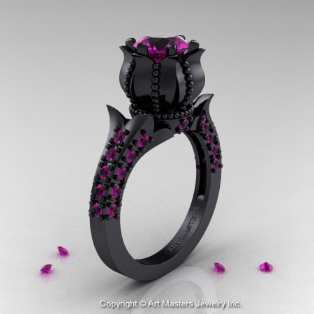 Classic 14K Black Gold 1.0 Ct Amethyst Solitaire Wedding Ring R410-14KBGAM-1