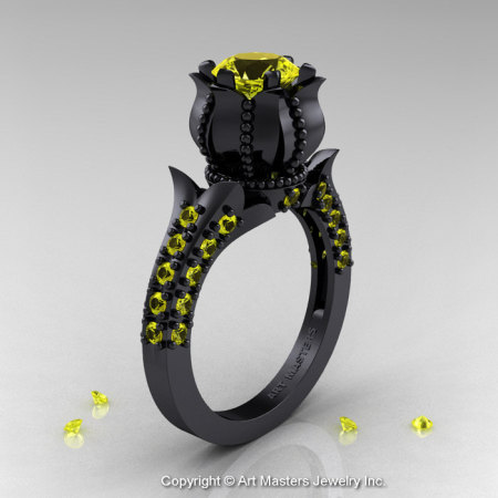 Classic 14K Black Gold 1.0 Ct Yellow Sapphire Solitaire Wedding Ring R410-14KBGYS-1