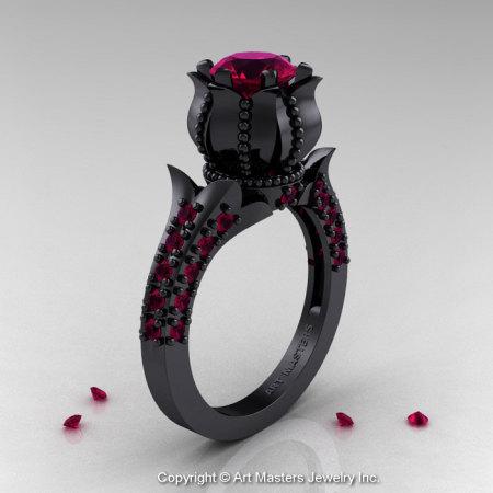 Classic 14K Black Gold 1.0 Ct Garnet Solitaire Wedding Ring R410-14KBGG-1
