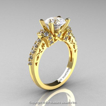 Modern Armenian Classic 14K Yellow Gold 1.5 Ct CZ Diamond Wedding Ring R137-14KYGDCZ-1