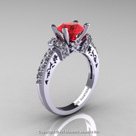 Modern Armenian Classic 14K White Gold 1.5 Ct Ruby Diamond Wedding Ring R137-14KWGDR-1
