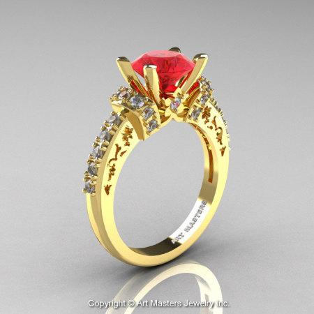 Modern Armenian Classic 14K Yellow Gold 1.5 Ct Ruby Diamond Wedding Ring R137-14KYGDR-1