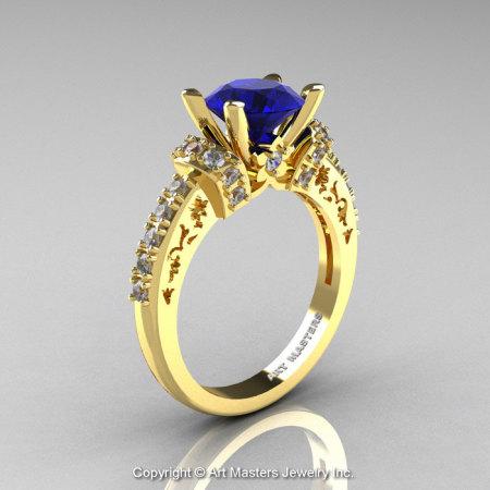 Modern Armenian Classic 14K Yellow Gold 1.5 Ct Blue Sapphire Diamond Wedding Ring R137-14KYGDBS-1