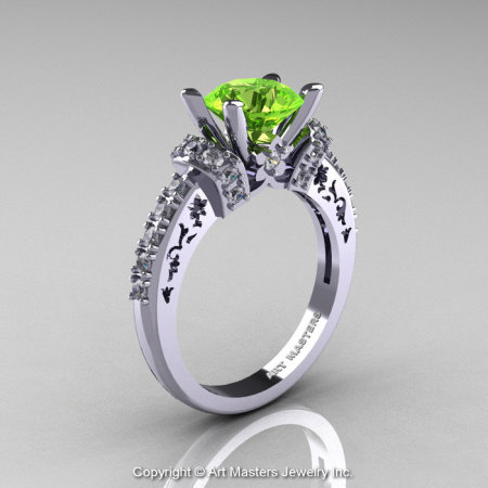 Modern Armenian Classic 14K White Gold 1.5 Ct Peridot Diamond Wedding Ring R137-14KWGDP-1