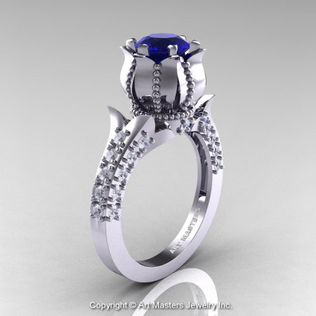Classic 14K White Gold 1.0 Ct Blue Sapphire Diamond Solitaire Wedding Ring R410-14KWGDBS-1