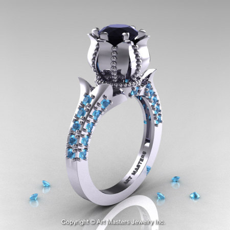 Classic 14K White Gold 1.0 Ct Black Diamond Blue Topaz Solitaire Wedding Ring R410-14KWGBTBD-1