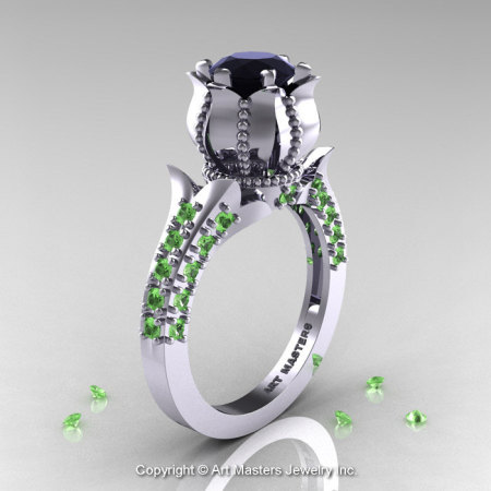 Classic 14K White Gold 1.0 Ct Black Diamond Green Topaz Solitaire Wedding Ring R410-14KWGGTBD-1