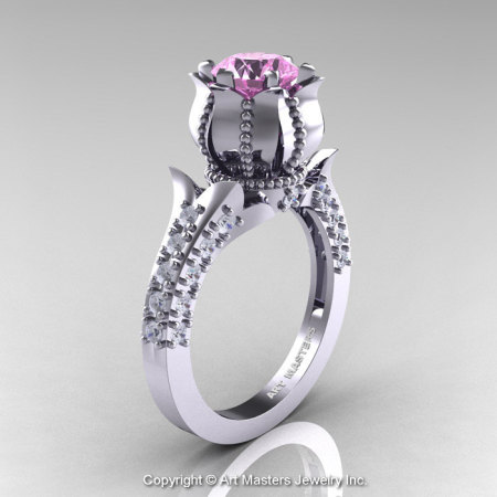 Classic 14K White Gold 1.0 Ct Light Pink Sapphire Diamond Solitaire Wedding Ring R410-14KWGDLPS-1