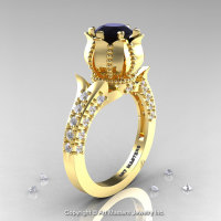 Classic 14K Yellow Gold 1.0 Ct Black and White Diamond Solitaire Wedding Ring R410-14KYGDBD-1