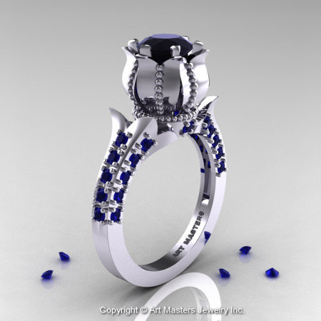Classic 14K White Gold 1.0 Ct Black Diamond Blue Sapphire Solitaire Wedding Ring R410-14KWGBSBD-1