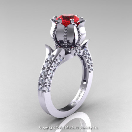 Classic 14K White Gold 1.0 Ct Ruby Diamond Solitaire Wedding Ring R410-14KWGDR-1