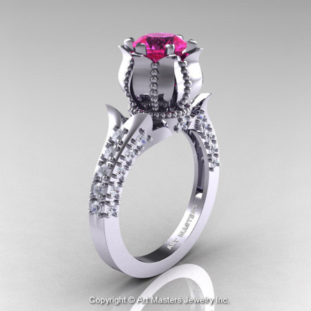 Classic 14K White Gold 1.0 Ct Pink Sapphire Diamond Solitaire Wedding Ring R410-14KWGDPS-1
