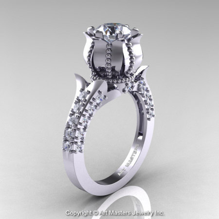 Classic 14K White Gold 1.0 Ct White Sapphire Diamond Solitaire Wedding Ring R410-14KWGDWS-1